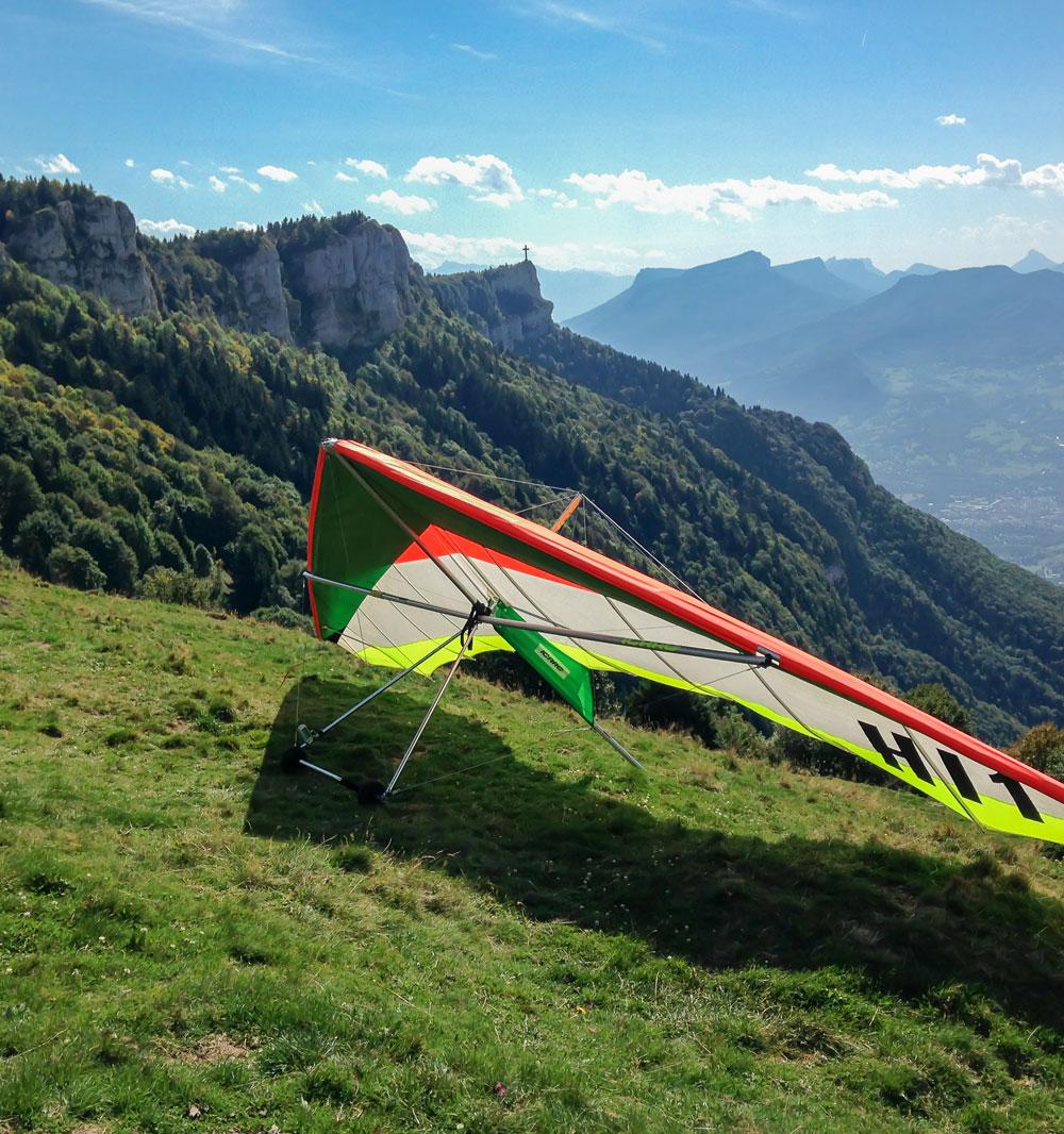 Een deltavleugel op de berg